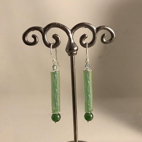 Hand-blown Green Glass Spirals with Jade Beads