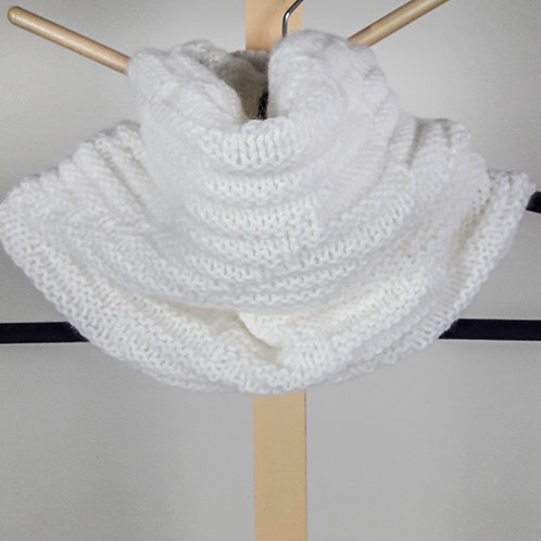 Tall White Angora Cowl