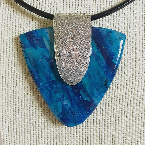 Blue faux stone pendant with handmade silver bail
