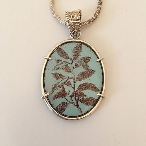 Reversible Leaf Design Pendant, enameled front, silver back