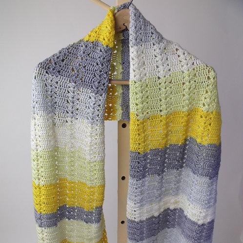 Shawl, yellow and grey