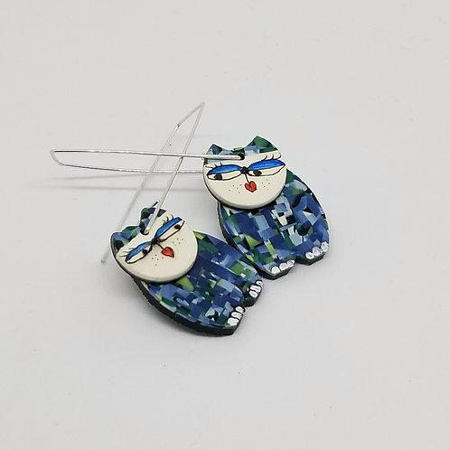 Sassy Blue Cat Earrings