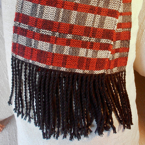 Scarf, black, red, white, summer and winter  pattern