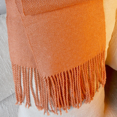 Scarf, pale copper, birds eye diamond silk twill pattern