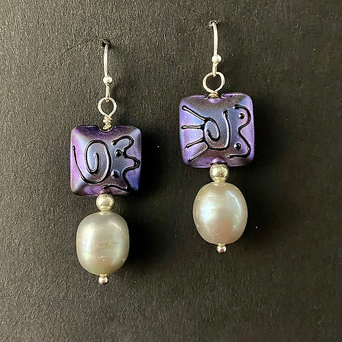 Earrings with Square Beads and Pearls