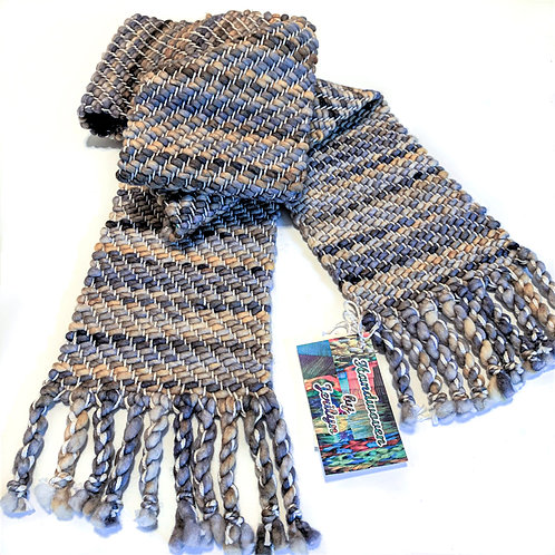 """Handwoven Men's scarf """"Sepia"""", soft and warm, twisted fringe"""