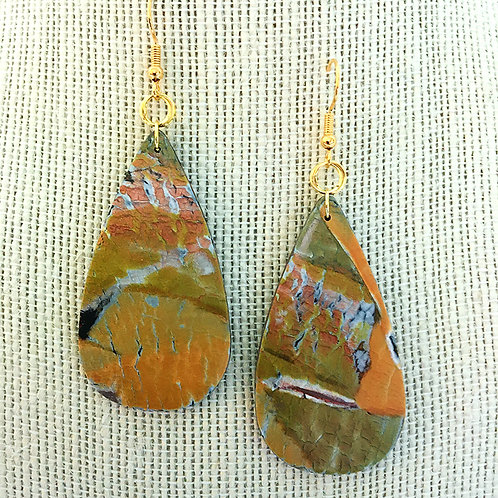 Crackled Tear Drop Earrings