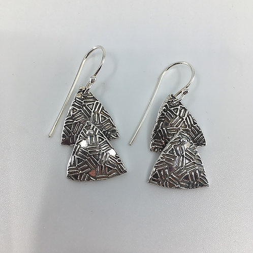 Layered Patterned Triangle Earrings