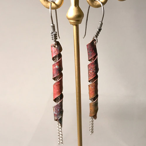Sterling Silver and Patinated Copper Ribbons with Dancing SS Chains