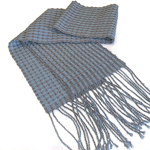 "Handwoven merino wool/silk scarf ""3D Squares"" twisted fringe"