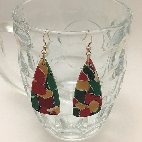 Polymer Long Asymmetric Triangle Earrings in Red & Green