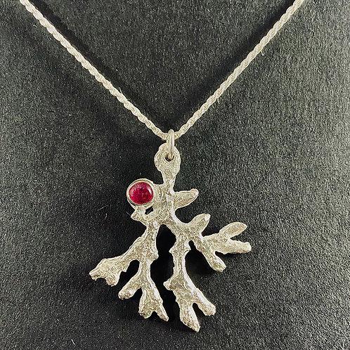 Handmade Coral Pendant with Tourmaline Gemstone