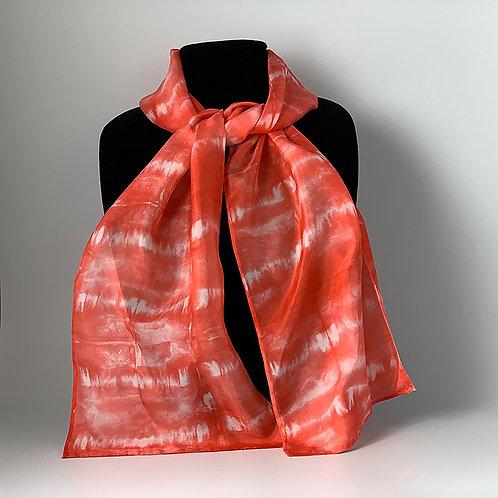 Hand dyed Shibori silk scarf - Red