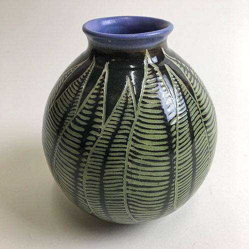 Sgraffito leaf vase