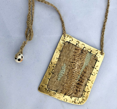 Tapestry Weave Pendant with brass frame and braided chain