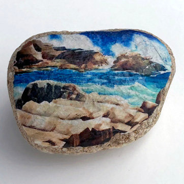 """Eastern Point Surf"" Print on Beach Rock"