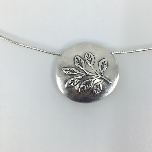 Reversible Round Lentil Bead, twig and abstract leaf designs