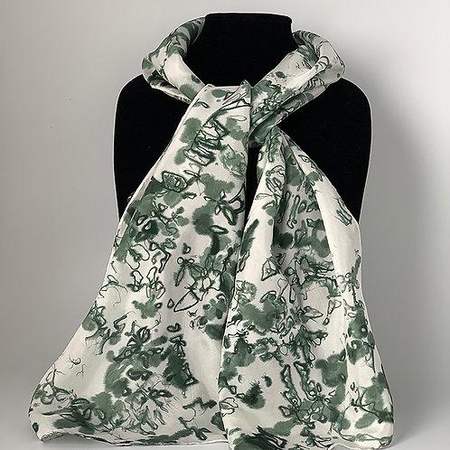 Hand dyed silk scarf - Black/Grey