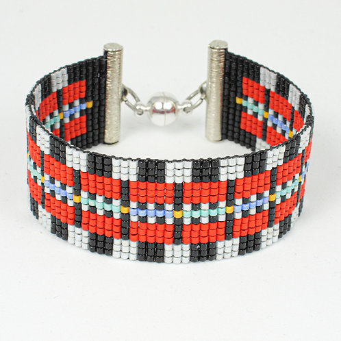 Red, Silver and Black Classic Design Beaded Bracelet