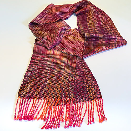 """Handwoven hand-dyed scarf """"Crackling Fire"""" twisted fringe"""