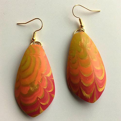 Red-orange-gold Chrysanthemum earrings