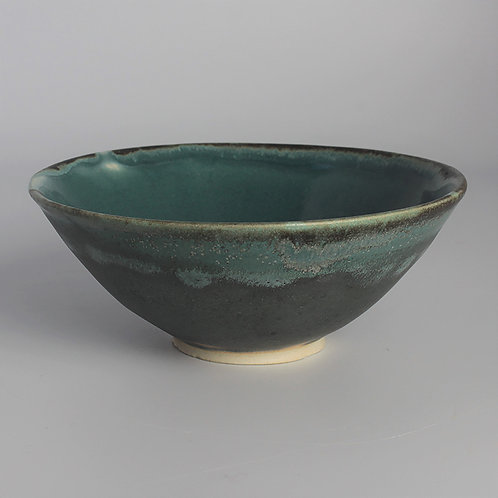 Gray and blue-green cereal bowl