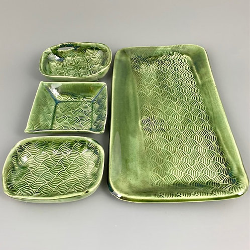 Tray for Sushi /Appetizer with three saucers