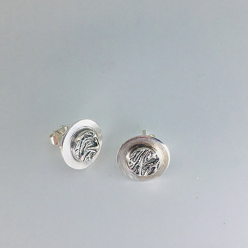 Layered Circle Stud Earrings with Textured Element