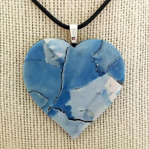 Heart Pendant Blue Water Color