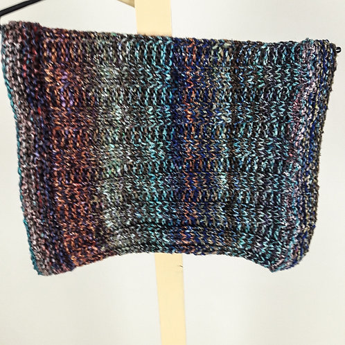 Blue, Green, Brown Ribbed Cowl