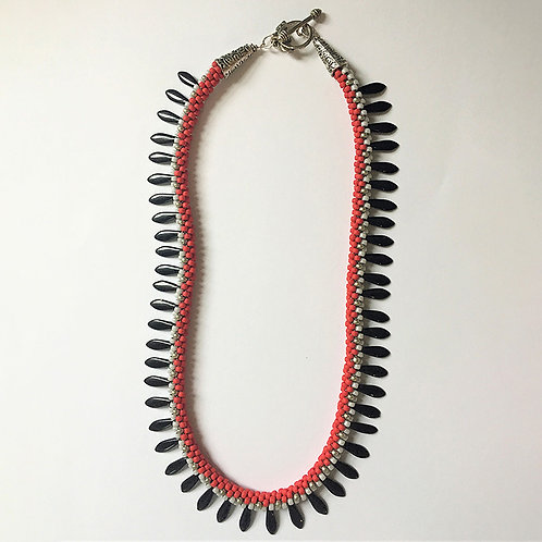 Kumihimo Dagger necklace in Red, White and Black