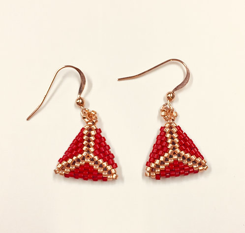 Bitty Triangle Earrings in red and rose gold