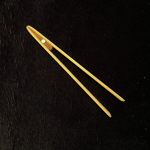 Poplar toaster tongs with cherry insert and magnet