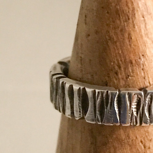 Textured Sterling Band, Oxidized