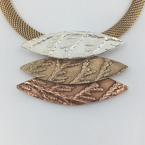 Three-Layered Marquis-Shaped Pendant on a Bronze Mesh Chain