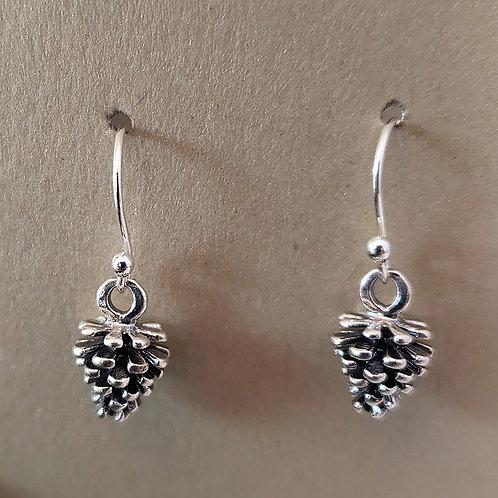 Sterling Silver Pinecone Earrings