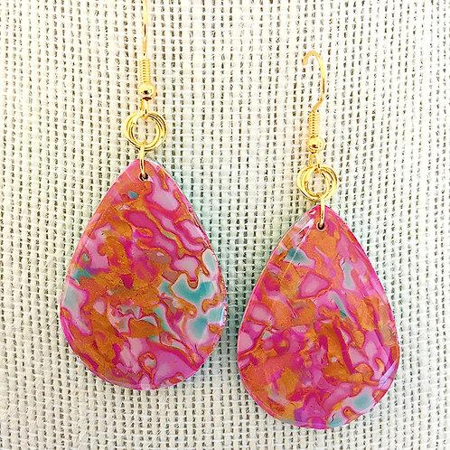 Pink and Gold Mokume Gane Earrings