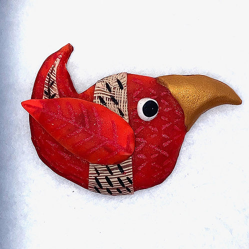 Carved and Caned Bird Pin