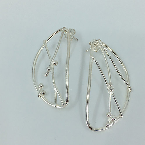 Fused Argentium Silver Leaf-shaped Post Earrings