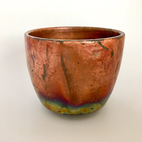 Copper luster raku bowl