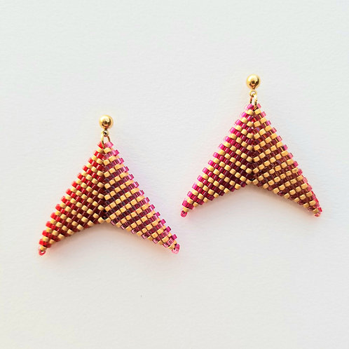 Folded Geometric Beaded Earrings (Postback)