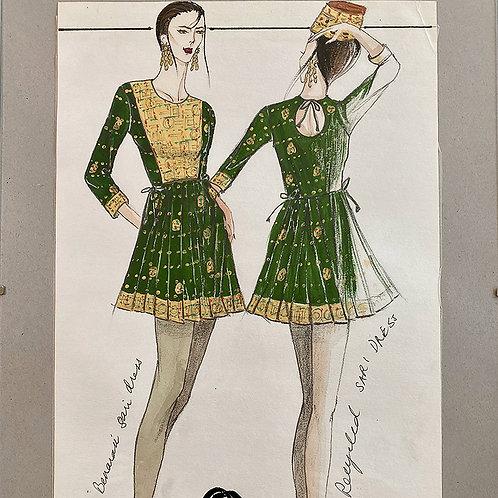 """""""Benarasi Green"""", Fashion Illustration"""