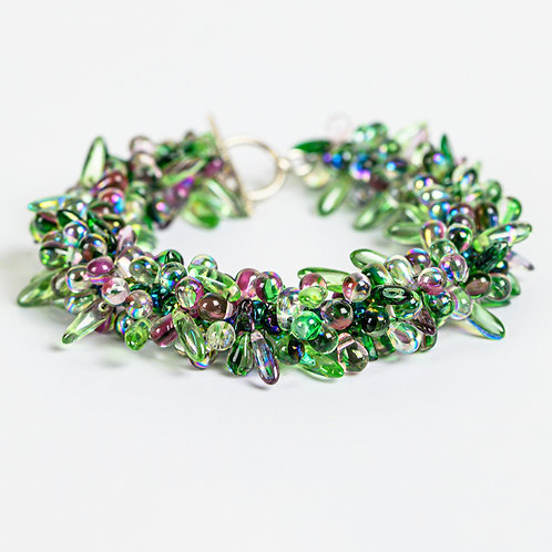 Petite Drops and Daggers Bracelet in Greens