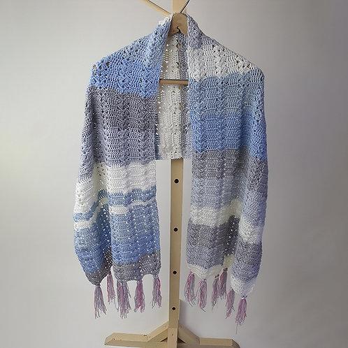Shawl, light blue and grey