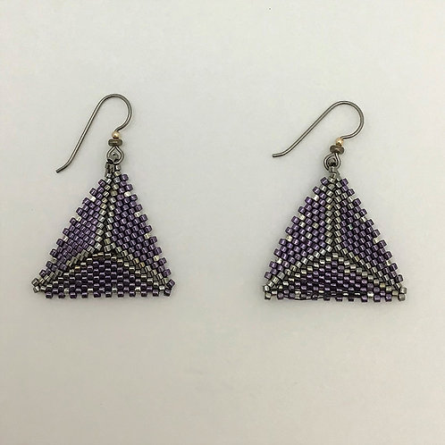 CGB Triangle Earrings in dark purple, hematite, silver beads