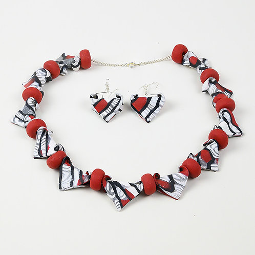 Fun Folded Bead Necklace and Earring Set