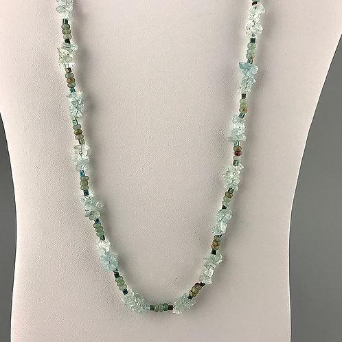 Natural Aquamarine, jasper, Japanese triangular beads