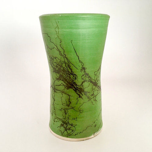 Green horsehair vase
