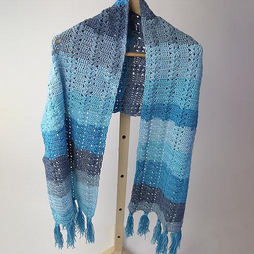 Shawl, aqua, blue and grey