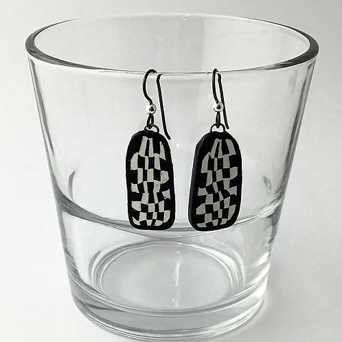 Polymer Long oval earrings in black & white check pattern